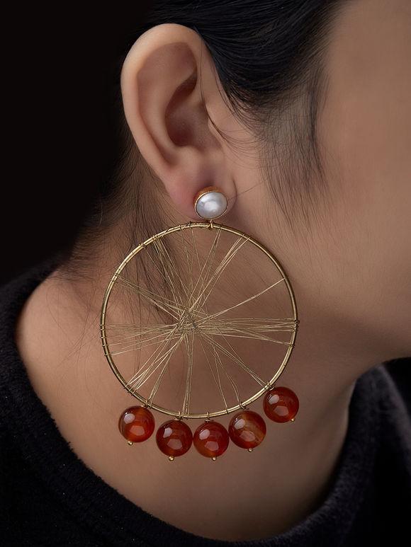 Orange Metal Garnet Earrings
