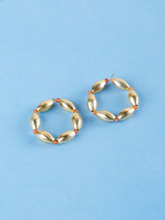 Golden Toned Beads Metal Hoop Earrings