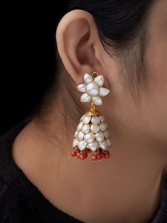 Orange White Pearls Metal Jhumkies
