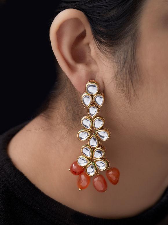 Orange Kundan Metal Earrings