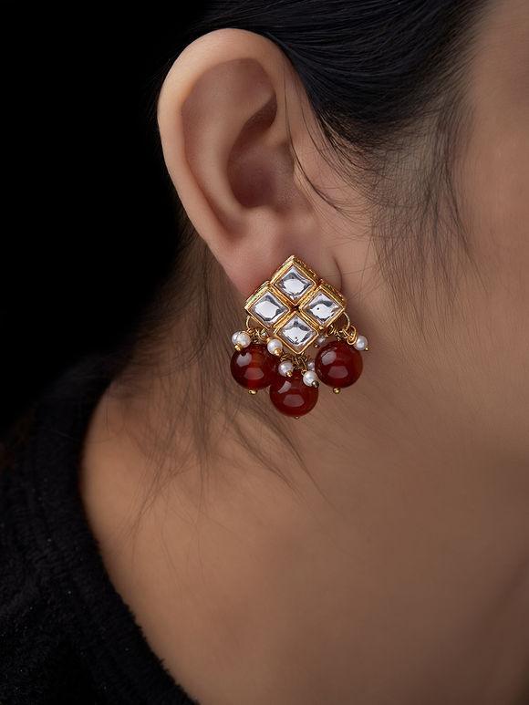 Maroon Kundan Metal Earrings