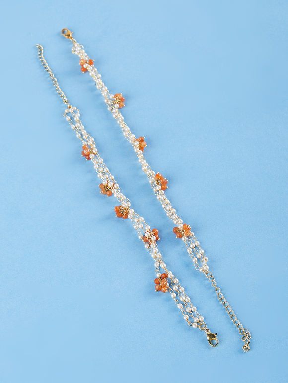 Orange Beads Metal Anklet - Set of 2
