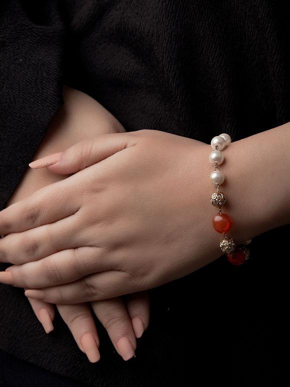 Orange Pearls Metal Bracelet