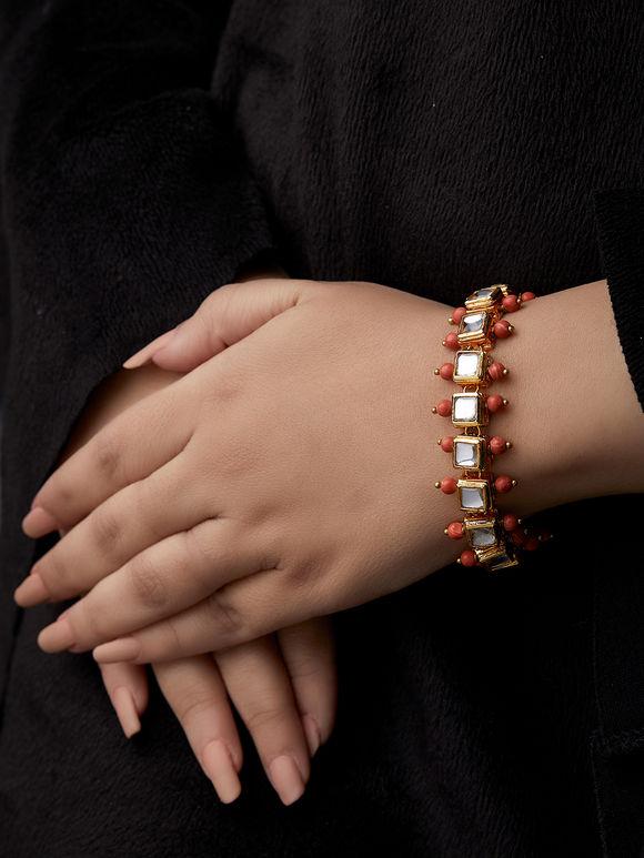 Orange Kundan Metal Bracelet