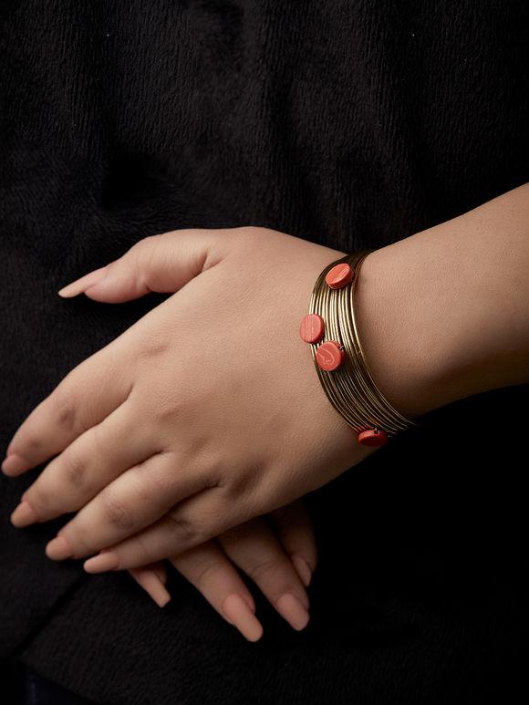 Orange Stones Metal Bracelet