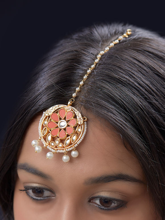 Orange Beads Floral Metal Maangtika