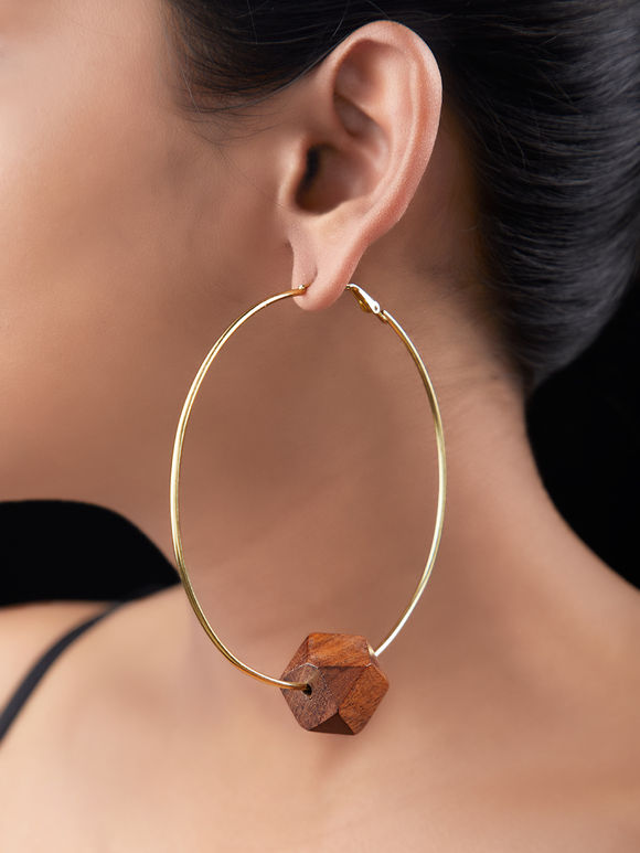 Brown Gold Plated Brass Handcrafted Hoop Earrings
