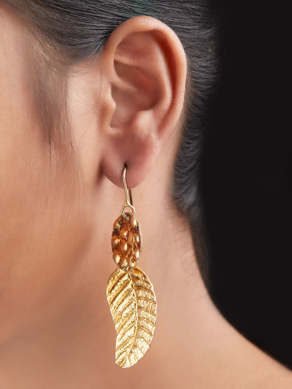 Gold Toned Handcrafted Tribal Silver Earrings