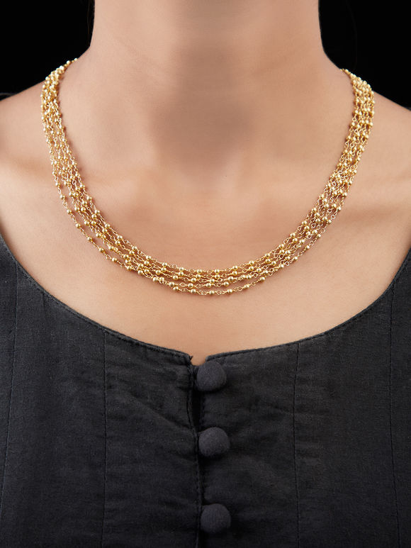 Gold Toned Handcrafted Tribal Silver Multistrand Necklace