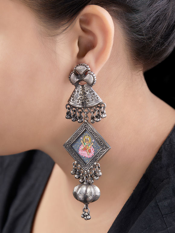 Silver Handcrafted Tribal Saraswati Earrings