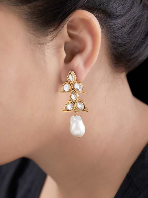 Gold Toned Handcrafted Kundan Silver Earrings