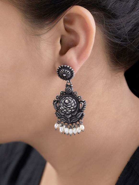 Silver Handcrafted Flower Earrings
