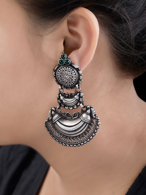Silver Handcrafted Tribal Moon Earrings
