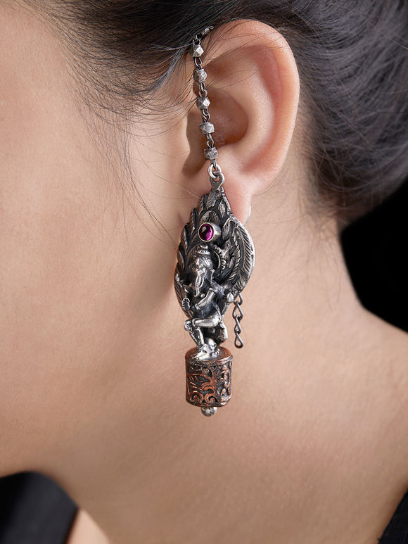 Silver Handcrafted Tribal Ganesha Earrings