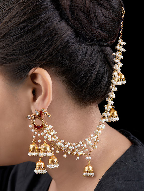 Gold Toned Handcrafted Bahubali Silver Earrings