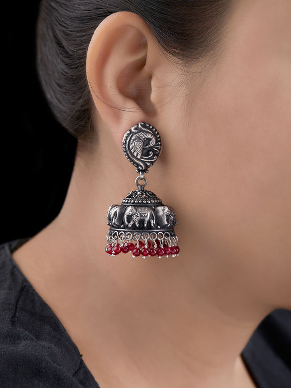 Silver Handcrafted Tribal Elephant Jhumkies