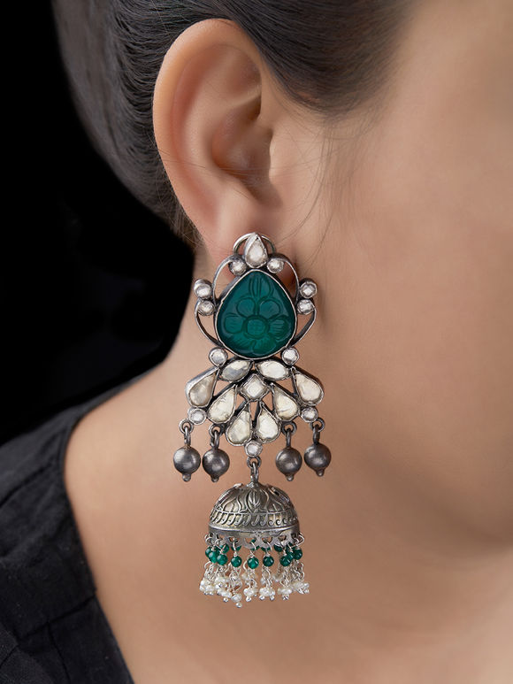 Green Silver Handcrafted Kundan Jhumkies