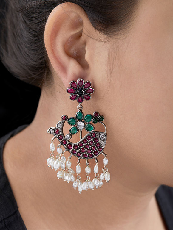 Multicolor Handcrafted Silver Earrings