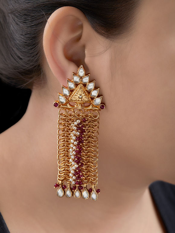 Gold Toned Handcrafted Silver Kundan Earrings