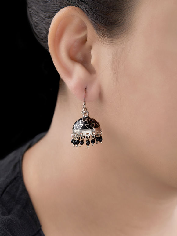 Black Handcrafted Silver Jhumkies
