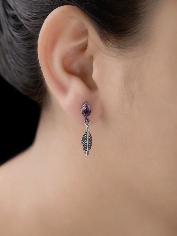 Silver Handcrafted Leaf Earrings