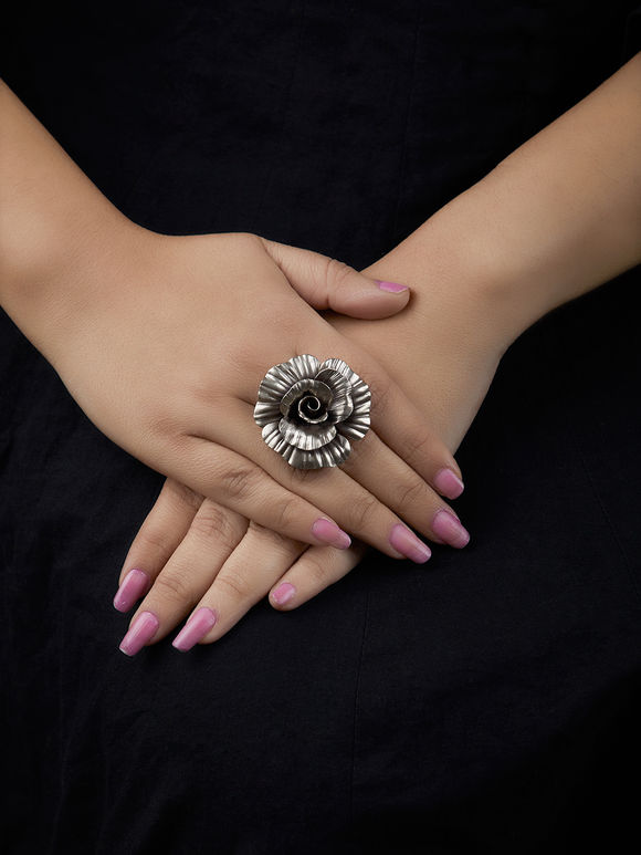 Silver Handcrafted Tribal Flower Ring