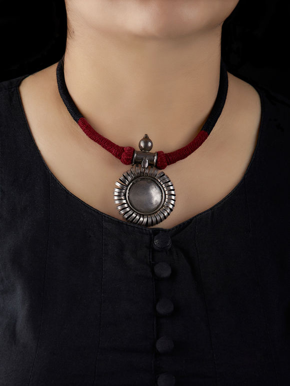 Silver Handcrafted Tribal Pendant Necklace