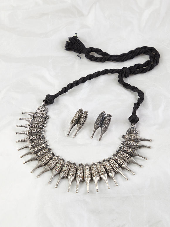 Silver Handcrafted Tribal Necklace with Earrings- Set of 2