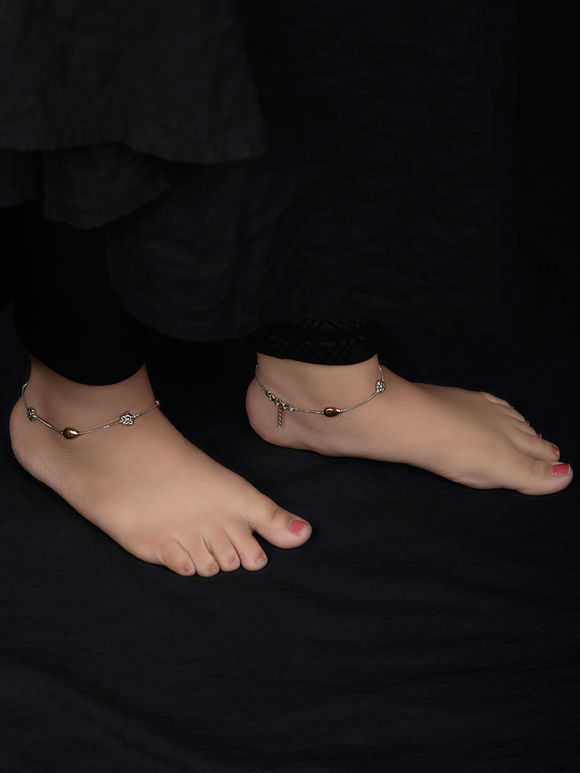 Dual Toned Handcrafted Tribal Silver Anklets - Set of 2