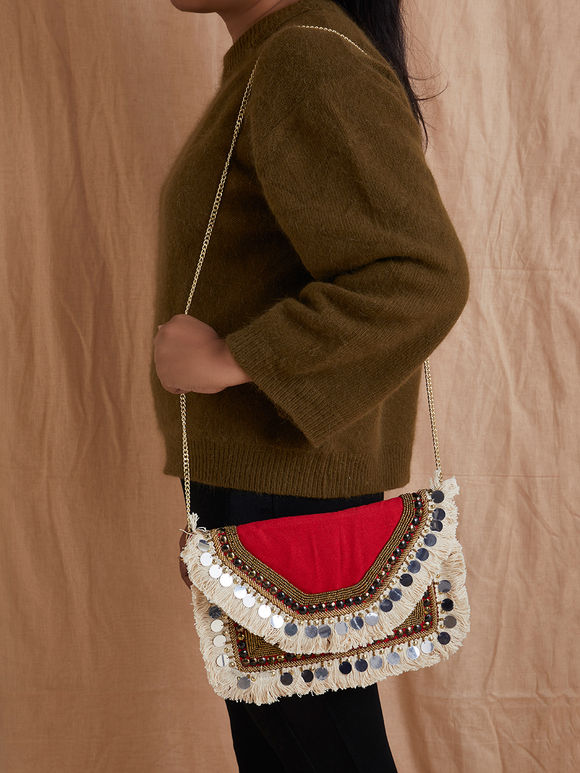 Red Hand Embroidered Cotton Sling Bag