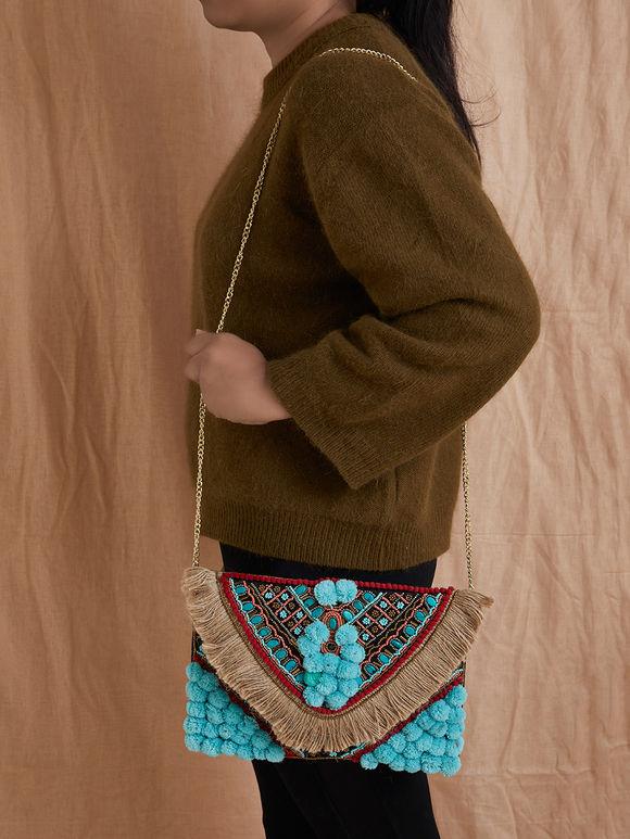 Turquoise Handmade Cotton Sling Bag