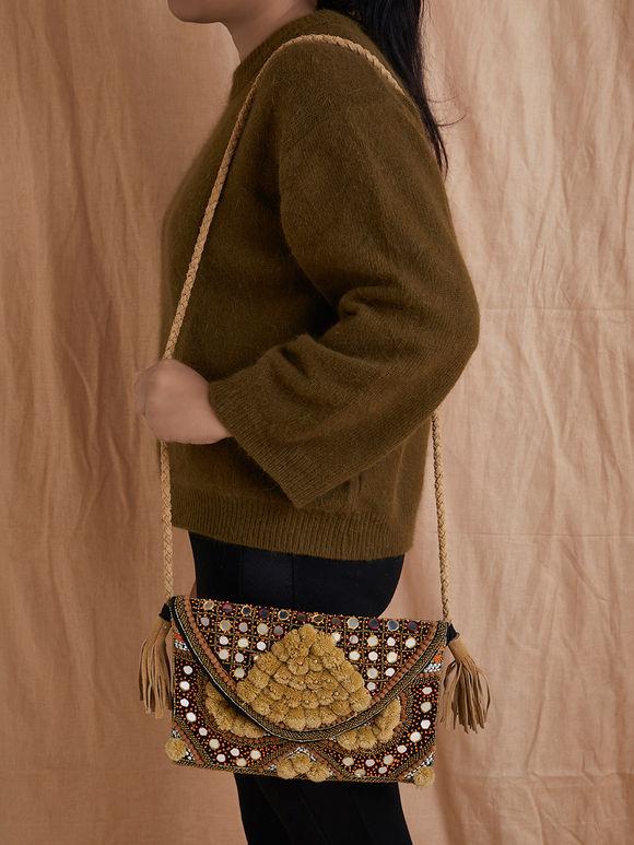 Beige Mirror Work Handmade Cotton Sling Bag