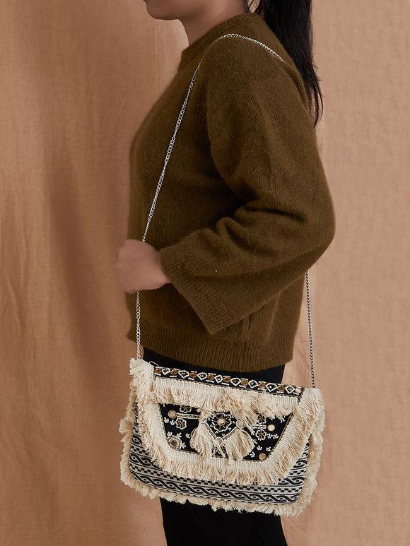 Off White Black Mirror Work Handmade Cotton Sling Bag