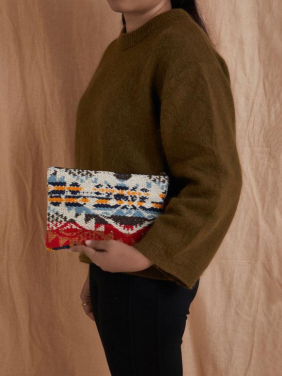 Multicolor Handmade Kilim Cotton Clutch