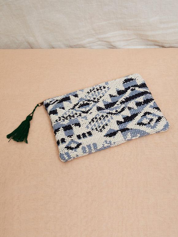 White Grey Handmade Kilim Cotton Clutch