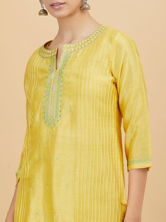 Yellow Chanderi Silk Kurta with Off White Cotton Pants - Set of 2