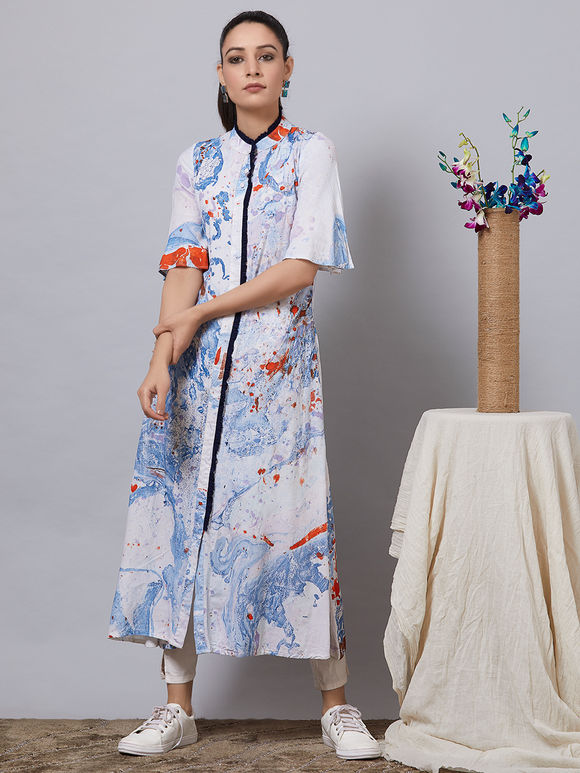 White Blue Hand Painted Rayon Tunic