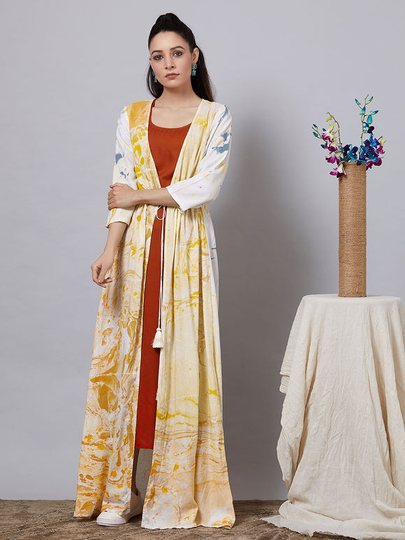 Yellow White Hand Painted Rayon Dress with Rust Slip - Set of 2