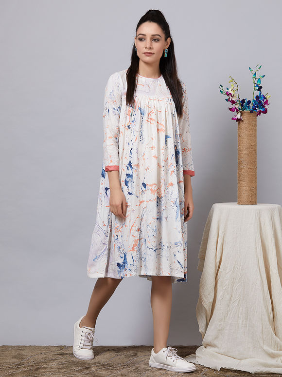 White Hand Painted Rayon Gathered Dress