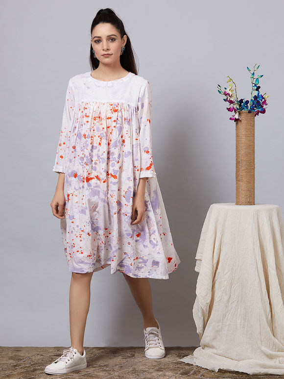 Peach Hand Painted Rayon Gathered Dress