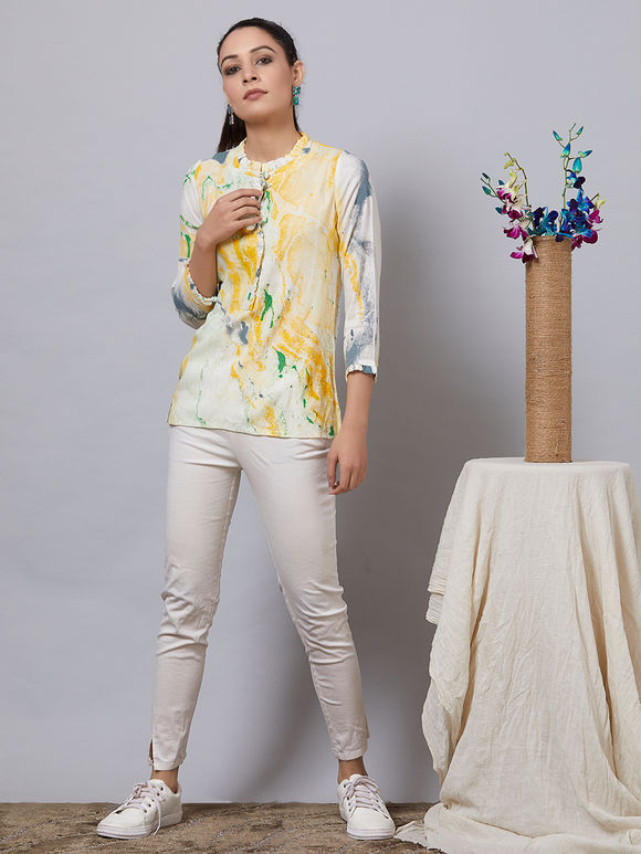 Mustard Yellow White Hand Painted Rayon Top