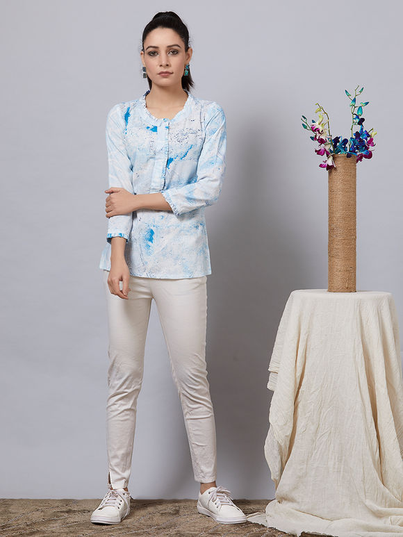 Blue White Hand Painted Rayon Top