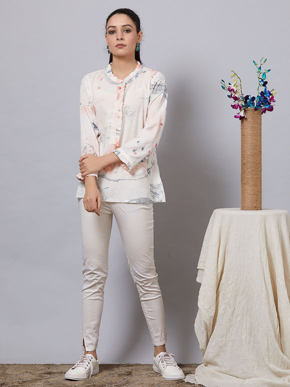 Peach White Hand Painted Rayon Top