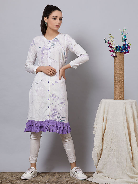 Purple White Hand Painted Rayon Tunic