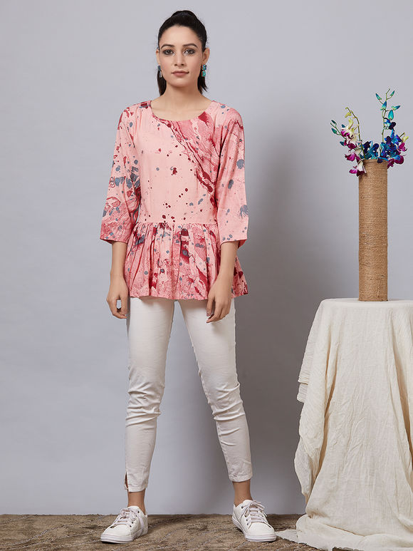 Peach Hand Painted Rayon Top