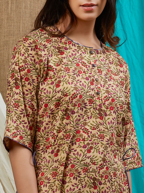 Brown Red Printed Cotton Kurta