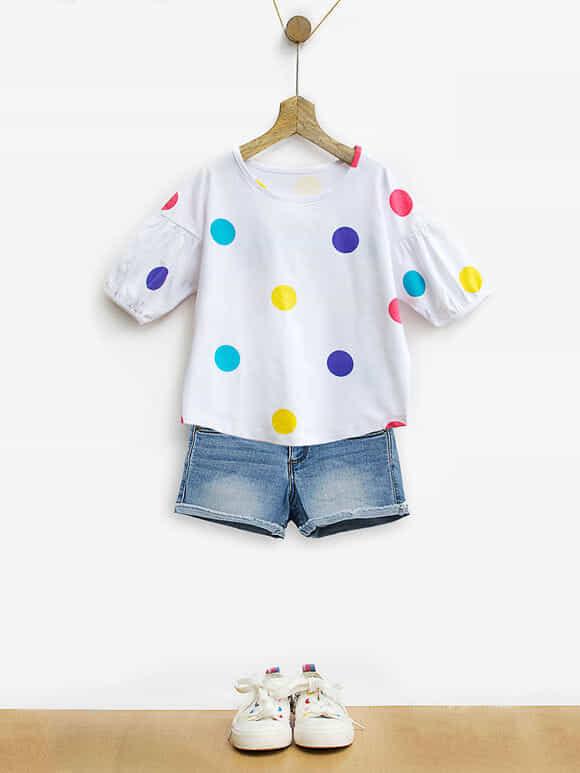 White Polka Dot Printed Cotton Top