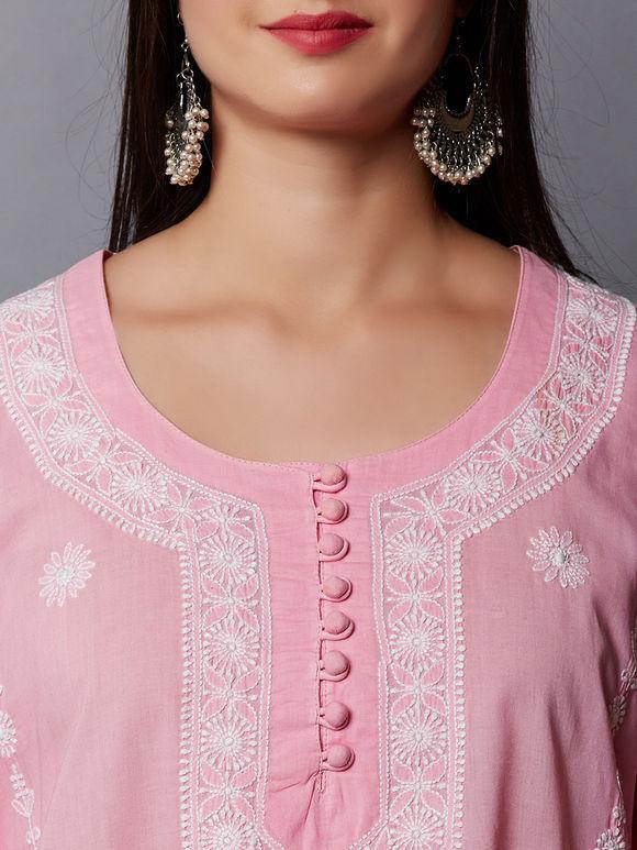 Pink Chikankari Cotton Kurta