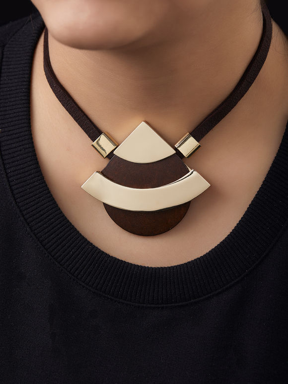 Brown Golden Handcrafted Brass Necklace