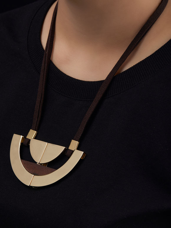 Gold Toned Semi Circle Brass Necklace